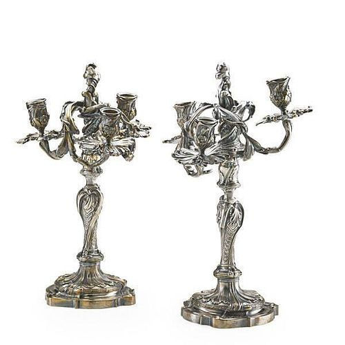 PAIR OF LOUIS XV STYLE THREE LIGHT CANDELABRA
