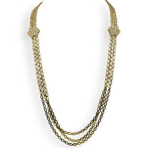 Vintage Long 18k Gold and Diamond Necklace
