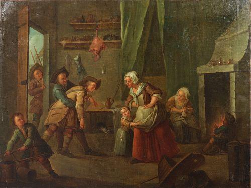 "Etienne Jeaurat Attr. ""Return of the Husband"" Oil"