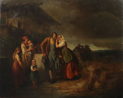 19th C. Illegibly Signed Peasant Scene Oil