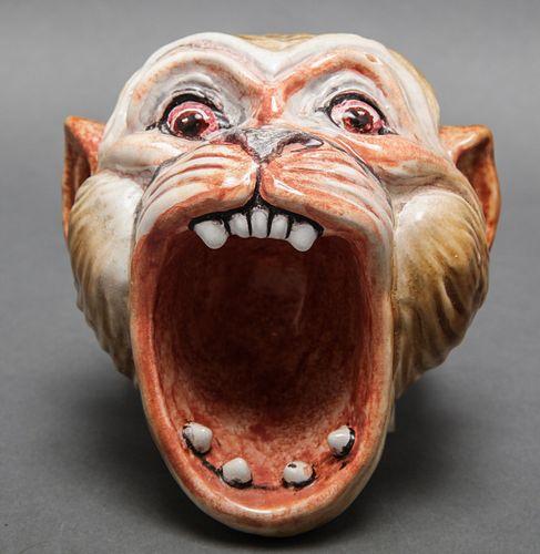 Italian Majolica Polychrome Monkey Head Vessel