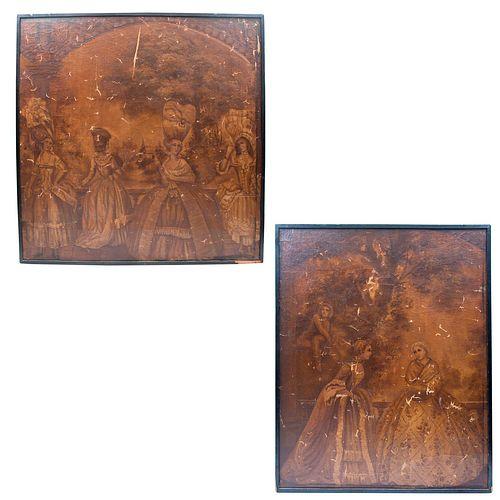 Par de páneles. Origen europeo, siglo XX. Anónimos. Escenas galantes. Impresiones sobre tela adheridos en madera. Pz: 2