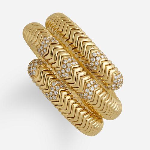 Bulgari, 'Spiga' gold and diamond bracelet