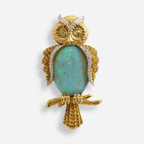 Opal owl brooch
