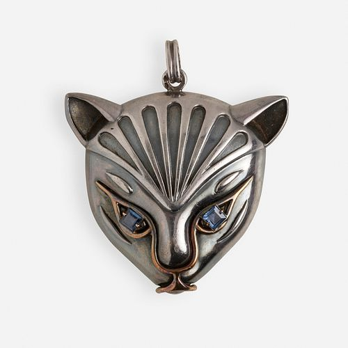 Attributed to Rene Boivin, Silver, gold, and sapphire cat pendant