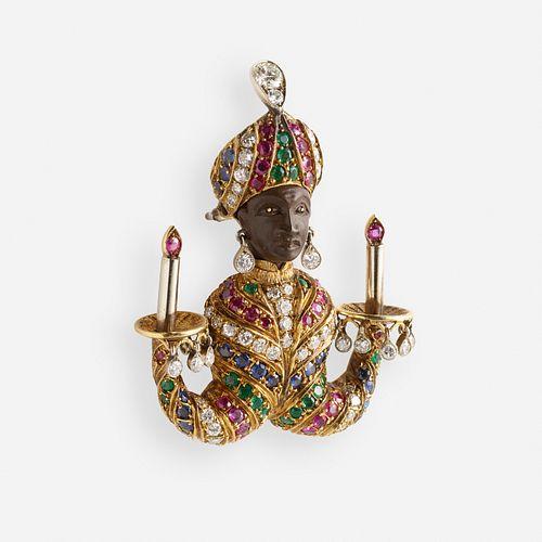 G. Nardi, Diamond and gem-set 'Moretto Veneziano' candelabra brooch