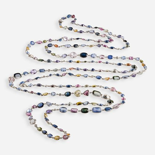 Multi-colored sapphire sautoir necklace