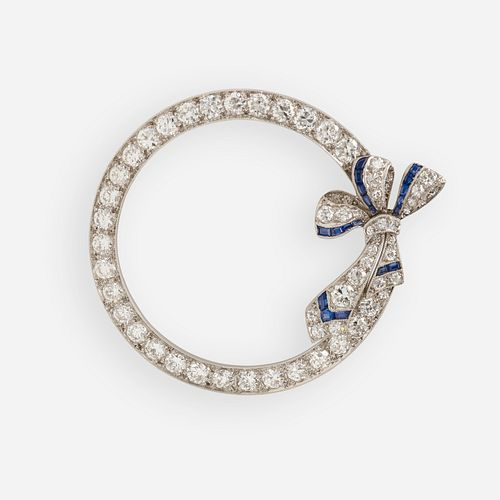 Tiffany & Co., Art Deco diamond and sapphire circle brooch