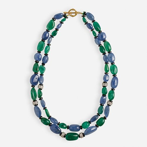 Sapphire, emerald, and diamond bead necklace