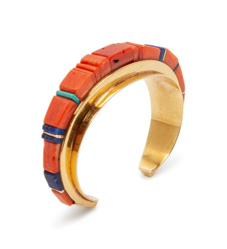 Charles Loloma (HOPI, 1921-1991) Gold, Coral, Turquoise, and Lapis Inlay Cuff Bracelet