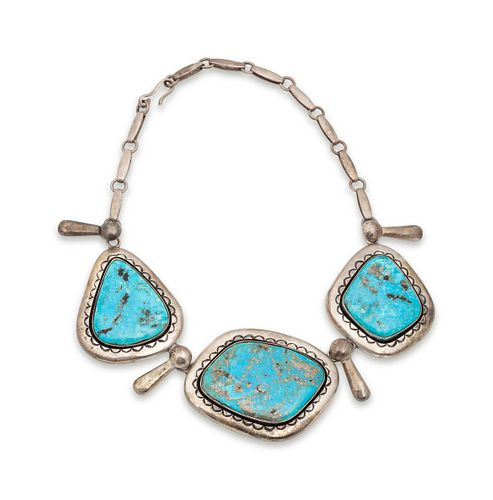 Julian Lovato (KEWA, B. 1922) Sterling Silver and Morenci Turquoise Necklace