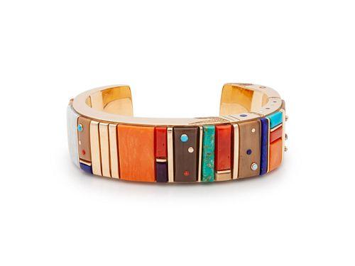 Jesse Monongya  (HOPI / DINE, B. 1952) Gold and Cobblestone Inlay Cuff Bracelet