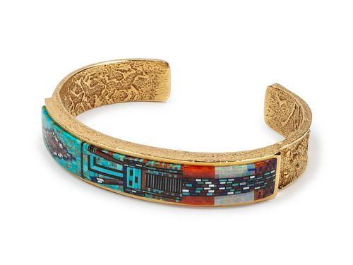 Carl and Irene Clark (DINE, B. 1952 and B. 1950) 18k Gold Cuff Bracelet with Micro-mosaic Inlay Yei