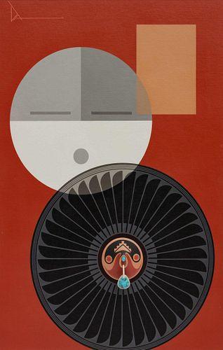 Tony Da (SAN ILDEFONSO, 1940-2008) mixed media composition