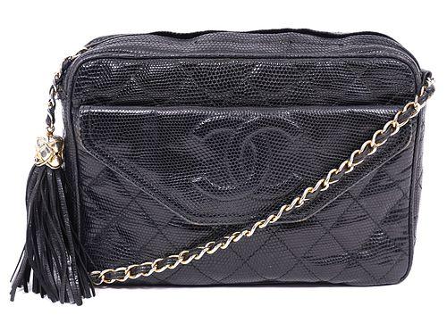 Chanel Black Vintage Snakeskin Shoulder Bag 1989