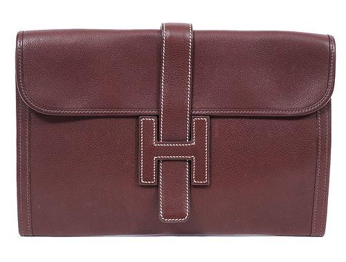Hermes Jige Brown Clutch Bag 2006