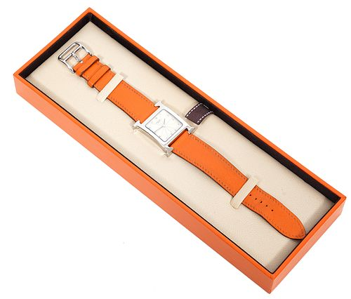Hermes Heure H Leather Band Watch