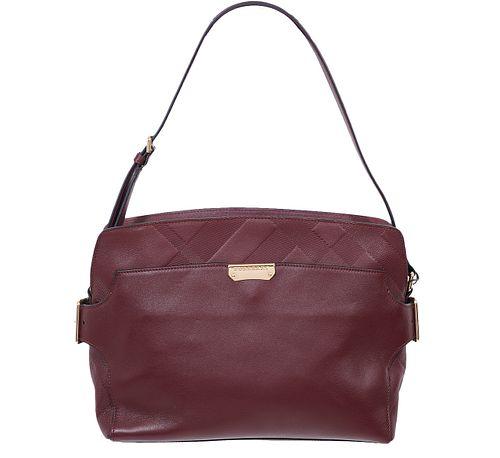 Burberry Claret Med Hawley Shoulder Bag NEW