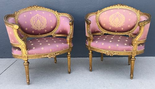 Pair 19th C. French Gilt Carved Upholstered Chairs