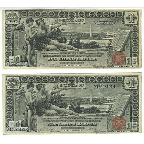Two Fr. 224 $1 1896 Silver Certificates