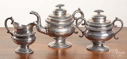 New York coin silver teapot and sugar, etc.