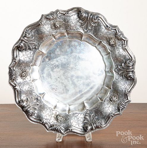 """Large 800 silver repousse tray, 18"""" dia., 44 ozt."""