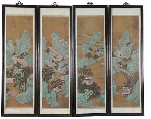 Group of 4 Chinese Paintings on Silk, 18-19th Century