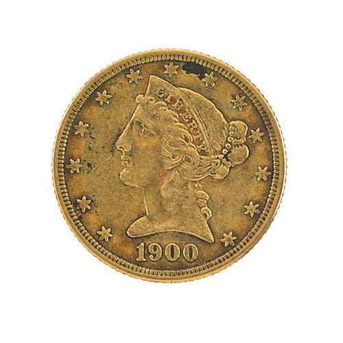 1900 $5.00 U.S. GOLD COIN