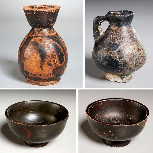 Ancient bowls, jug, and vase, ex-museum