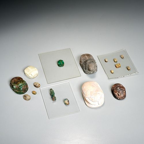(16) Egyptian scarabs & (1) Amulet, ex-museum