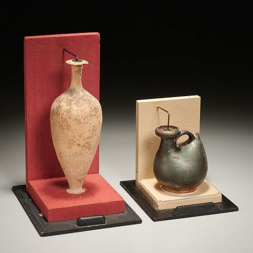 (2) Ancient Greek pottery jugs, ex-museum