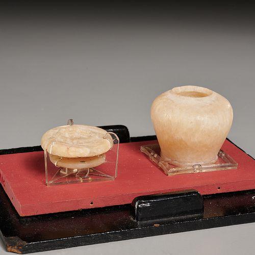 Ancient Egyptian alabaster jar & lid, ex-museum