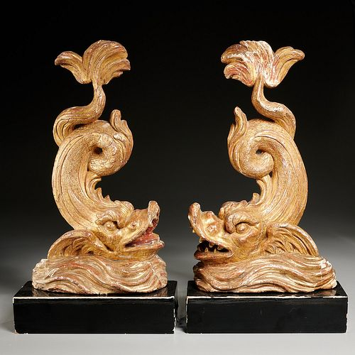 Great pair Italian giltwood carved sea creatures