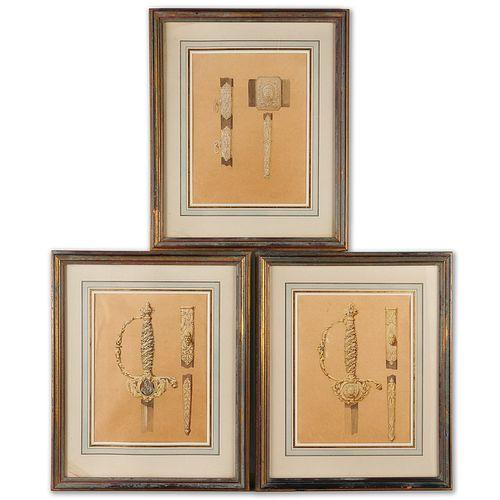 Fine ornamental sword designs, (3) paintings