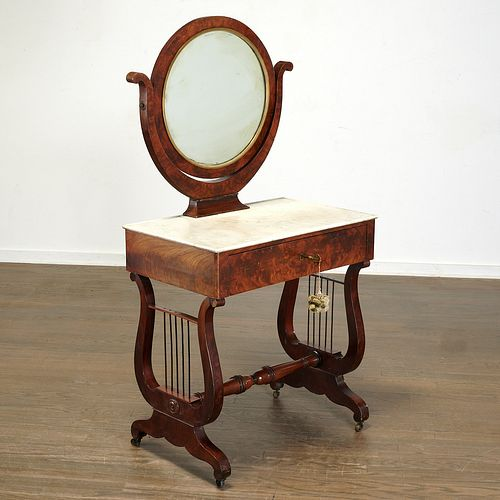 Empire mahogany dressing table, signed Chapuis
