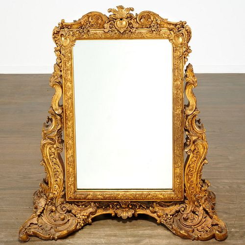Louis XVI style carved giltwood dressing mirror