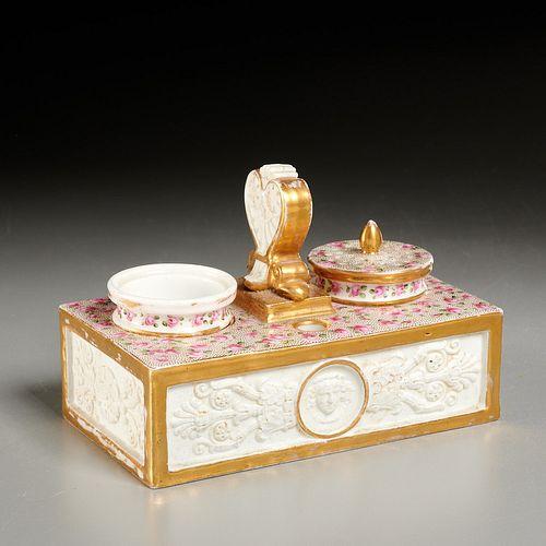 Old Paris porcelain encrier inkwell