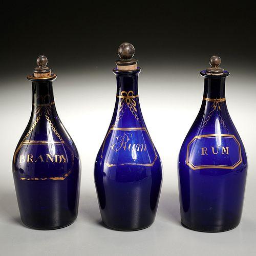 (3) George III cobalt-blue glass decanter bottles