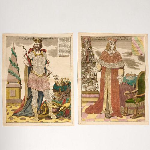 Matthaus Seutter, pair allegorical engravings