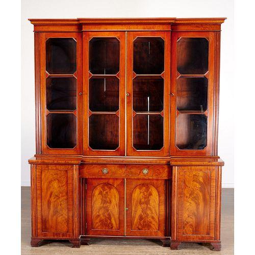 Unusual late Regency mahogany breakfront bookcase