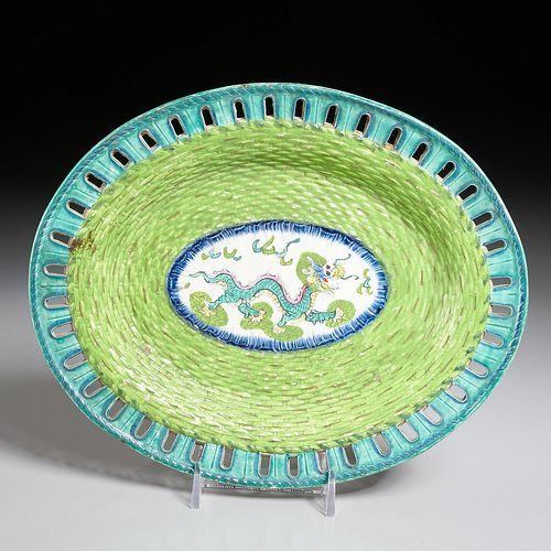 Unusual English Pearlware dragon dish