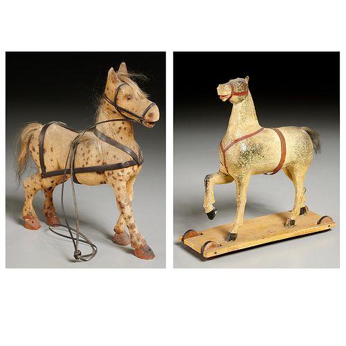 (2) American Folk Art carved wood horse toys