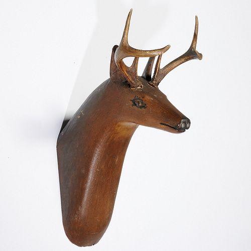 American Folk painted wood deer trophy