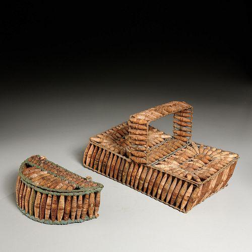 (2) 19th c. Folk Art sewing baskets