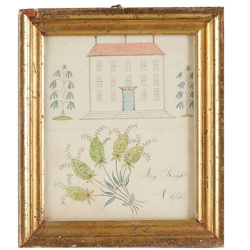 Mary Knight, Folk Art drawing, Maine c. 1830