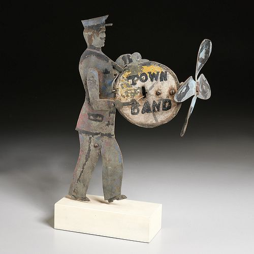 American Folk Art cut tin Bandmaster whirligig