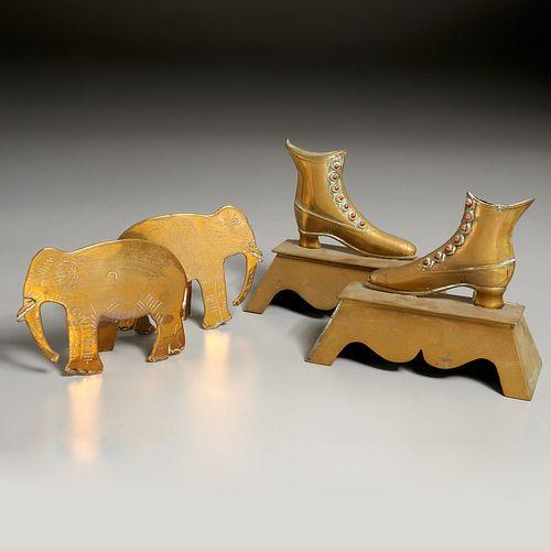 (2) pair Victorian brass mantel ornaments