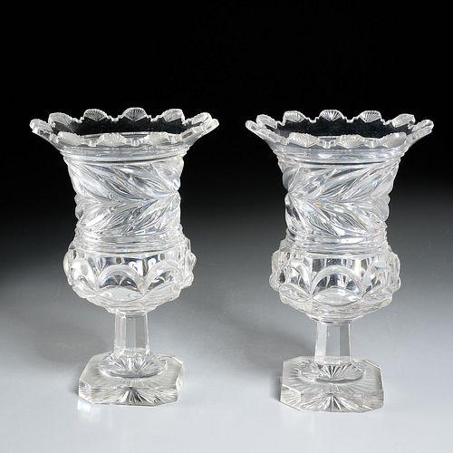 Nice pair Irish Regency cut crystal urns