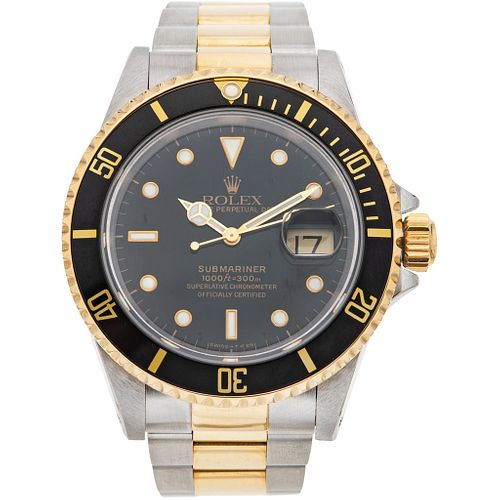 ROLEX OYSTER PERPETUAL DATE SUBMARINER. STEEL AND 18K YELLOW GOLD. REF. 16613, CA. 1989-1990