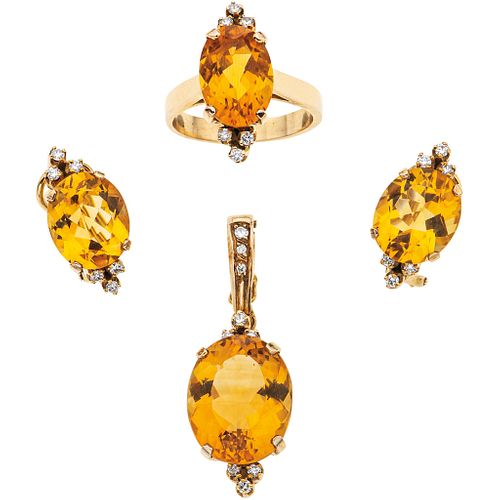 PENDANT, RING AND EARRINGS SET WITH CITRINE AND DIAMONDS. 14K YELLOW GOLD